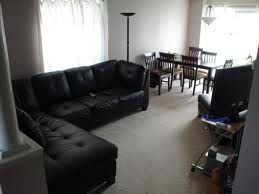 black furniture in room